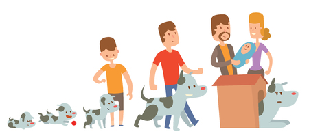 family pet: Boy and dog friends kife stages vector illustration. Friendship and family concept. Boy and his dog live together. Man family and dog pet vector
