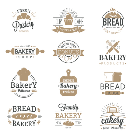 Bakery badges and logo icons thin modern style vector collection set. Retro bakery labels, logos and badges icons. Bakery badges design elements isolated on white background Vettoriali