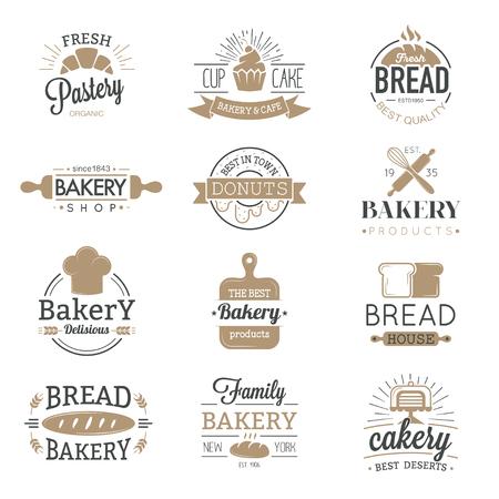 badge da forno e icone logo sottile insieme di raccolta vettore di stile moderno. Retro etichette da forno, loghi e icone badge. Bakery badge elementi di progettazione isolati su sfondo bianco