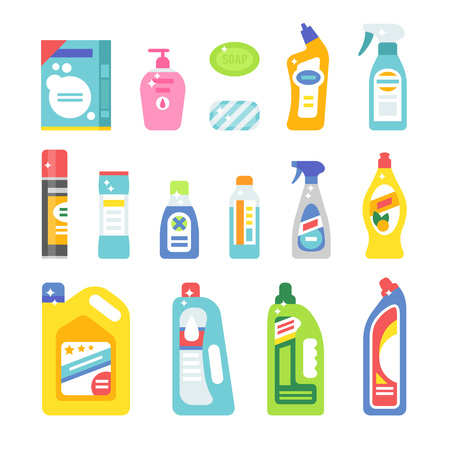 household equipment: House cleaning hygiene and cleaning products flat vector icons set. Vector cleaning products symbols. House cleaning illustration. Cleaning icons isolated on white background