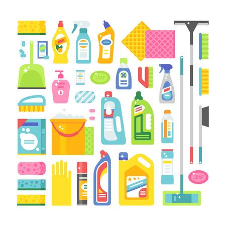 Huis schoonmaken hygiëne en schoonmaak-producten plat vector iconen set. Vector schoonmaakmiddelen symbolen. Schoonmaken van het huis illustratie. Het schoonmaken van iconen op een witte achtergrond