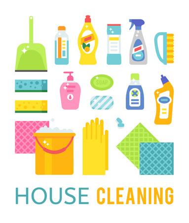 Maison de nettoyage et d'hygiène des produits de nettoyage vecteur icônes plats fixés. produits de nettoyage vecteur symboles. Maison illustration nettoyage. Nettoyage icônes isolé sur fond blanc
