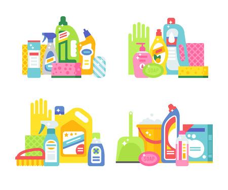 servicio domestico: Limpieza de la casa y los productos de higiene iconos conjunto de vectores planas limpieza. productos de limpieza vector de s�mbolos. Ilustraci�n de la casa de la limpieza. Limpieza de los iconos aislados sobre fondo blanco Vectores