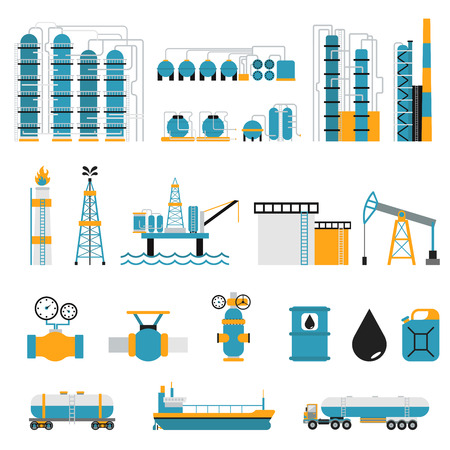 oil and gas industry: Oil industry flat style vector symbols. Oil transportation, oil or gas fuel production vector illustration. Oil and gas vector infographic elements isolated on white background. Oil factory, gas station Illustration