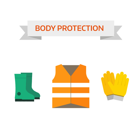safety equipment: Safety work icons flat style. Safety icons vector illustration. Safety icons isolated on white background. Safety work icons. Safety symbols elements collection. Safety at work vector icons collection