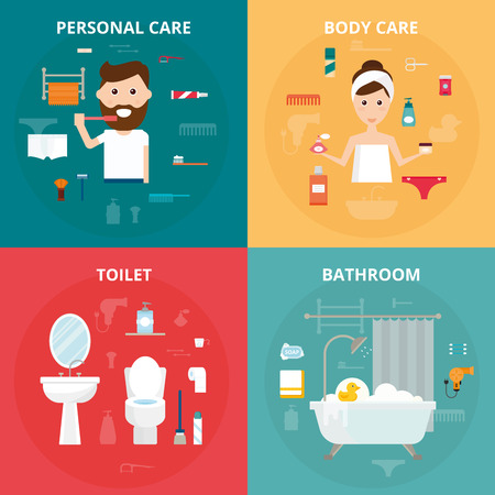 Man and woman hygiene icons vector set isolated on background. Face and skin cleaning, toilet and bathroom hygiene vector icons illustration. Hygiene toolls sign Illustration