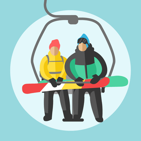 Snowboarder sitting in ski gondola and lift elevators. Winter sport resort background. Snowboard people rest. Snowboarder lifting. Special snowboard elevators. Ski elevators vector. Snowboard jump
