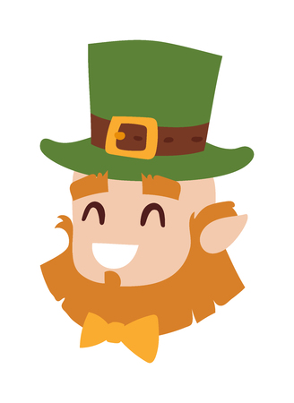 happy people faces: Vector smiling leprechaun head, the symbol of St. Patricks day isolated leprechaun head on white background. Cute happy leprechaun head wearing green hat. Irish oldman head. Illustration