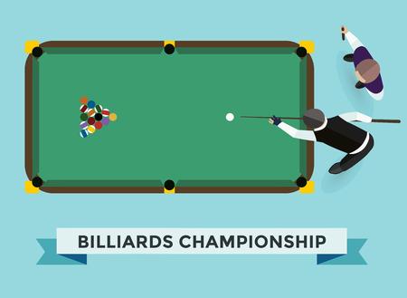 billiards rooms: Vector billiard game champion. Billiards pool game accessories. Billiard game champion club, billiards table and billiards players. Billiard champion vector game