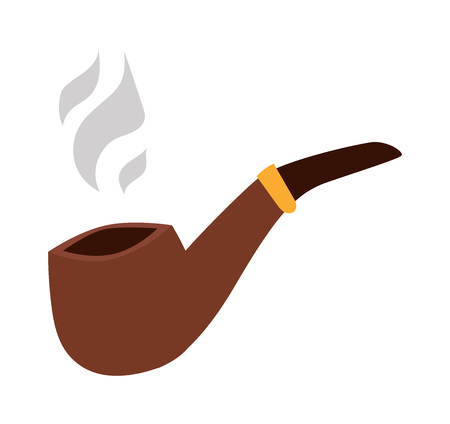 cigar smoking man: Vector brown smoking pipe. Vector modern flat design icon with smoking pipe. Tobacco pipe, smoking pipe isolated on white background. Gentlemans set with tobacco pipe.