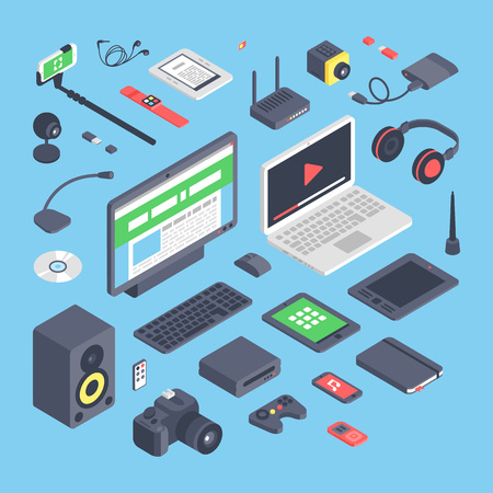 communication devices: Vector set of isometric computer devices icons.Wireless technologies isometric computer devices icons set with mobile communication devices 3d.Isometric computer devices icons set Illustration