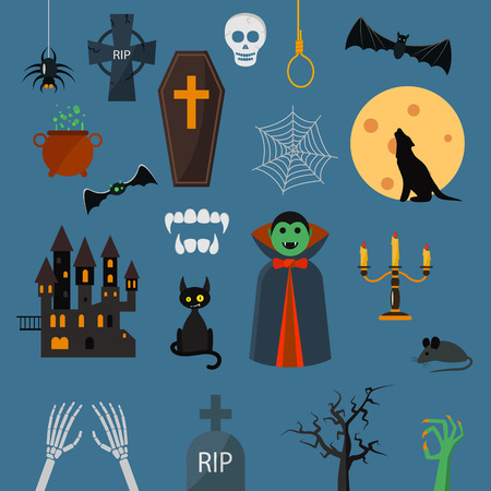 Vampire dracula symbols icons vector set. Vampire dracula symbolscharacter design cartoon elements. Vampire dracula symbols vector illustration. Zombie hand. black cat, castle.Halloween symbols
