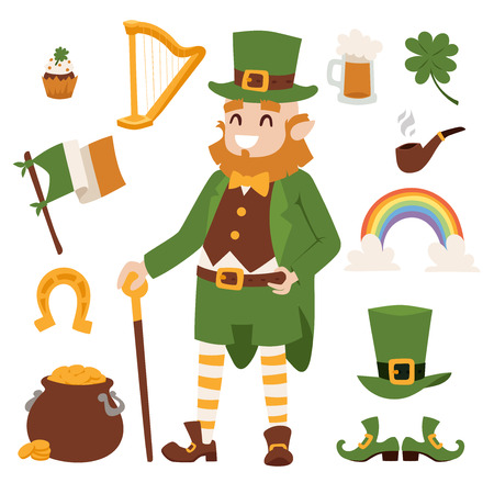 patric banner: St. Patricks Day vector icons. St. Patricks Day vector cartoon style symbols. St. Patricks Day irish man, leaf and hat isolated on white background