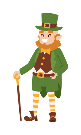 patric banner: St. Patricks Day vector Leprechaun. St. Patricks Day vector cartoon style Leprechaun. St. Patricks Day irish man in leaf and hat isolated on white background