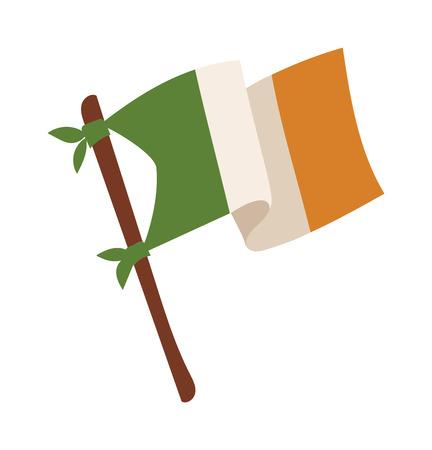 bandera blanca: de ilustración vectorial de Irlanda. bandera irlandesa aislado en el fondo. estilo de dibujos animados bandera irlandesa. Vector bandera irlandesa. Bandera del irlandés de estilo moderno Vectores