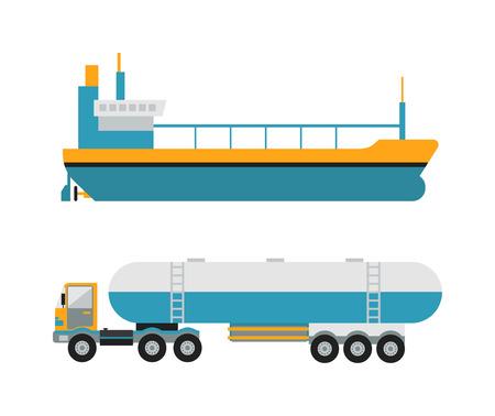 ガス石油輸送・ ヴァン ・ ベクトル。ガス石油石油輸送タンク車タンカー概念ベクトル。石油コレクション ガス石油輸送バン。白で隔離タンカー ト  イラスト・ベクター素材