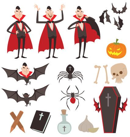 Kreskówki Dracula symbole wektorowe. Dracula ikony wampira. Cartoon uśmiecha Dracula. Kreskówki Dracula charakter odosobniony. Wampir Cartoon zabawny człowiek, komiks symbole Halloween Dracula