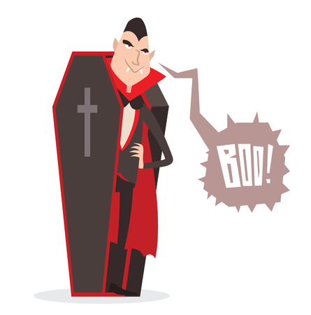 fear cartoon: Cartoon Dracula vector. Charming predatory vampire. Cartoon Dracula smiling. Cartoon Dracula laughing. Cartoon vampire funny character, comic Dracula Halloween illustration.