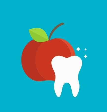woman hygiene protection: Tooth care vector illustration. Dental and tooth care infographics element. Tooth care hygiene. Health medicine tooth care. Dental clinic vector icon teeth with red apple.