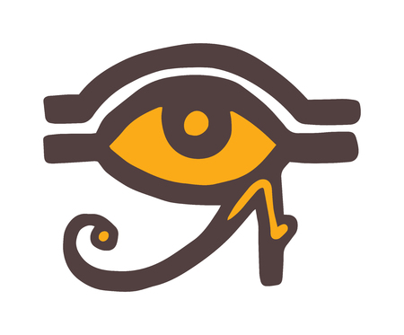 hand drawn: Egypt God Ra vector symbol. Sun EYE OF Egypt God Ra - reverse moon eye of Thoth. Egypt God Ra vector hand drawn set. Egypt God Ra isolated on white background. Egyptian symbol God Ra vector. Illustration
