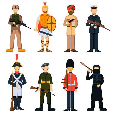 avion caricatura: Los soldados militares en el conjunto de caracteres avatar Ilustraci�n uniforme aislado del vector. Los soldados militares de dibujos animados. Conjunto de personas militares plana. Soldados con armadura. Caracteres. objetos aislados.