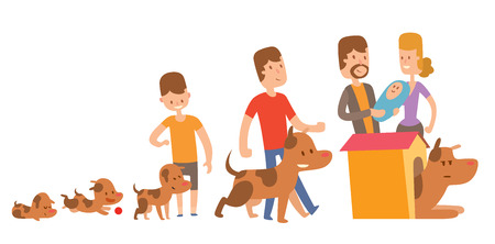 family with dog: Dog life vector. Set of vector family dog life. Dog family and people family. Cute Dog life. Happy puppy family vector. The dog in the booth. Puppies and family members.