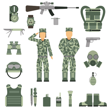armor: Military symbols vector illustration. Military people set. Set of military and army forces woman and man. Military symbols design. Military symbols with weapon and people uniform. Illustration