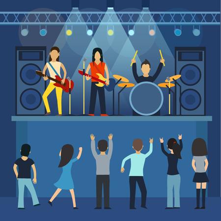 Roca del vector concierto, guitarra y músico, instrumento musical, el sonido y el rendimiento, el estadio y el guitarrista. Un concierto de rock ilustración vectorial plana. Roca canto concierto y baile, los jóvenes