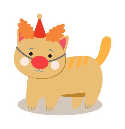 payasos caricatura: Circo gatos del vector. Conjunto de gatos de circo alegre. ilustración vectorial para los niños con los gatos de circo. Aislados gatos de la historieta animales en el circo. Circo lindo que juega gatos.