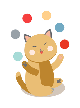 cats playing: Circus cats vector. Set of cheerful circus cats. Vector illustration for childrens with circus cats. Isolated cartoon cats animals in circus. Cute Circus playing cats.