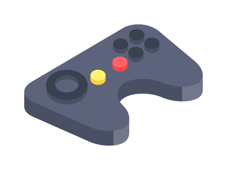 games: Game console joystick vector illustration. Game console joystick isolated on white background. Game console joystick vector icon illustration. Game console joystick isolated vector silhouette Illustration