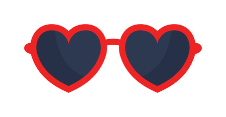 Vector heart glasses isolated on white.