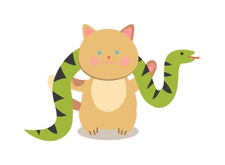 cartoon circus: Circus cats vector. Set of cheerful circus cats.