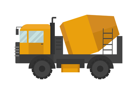 technics: Building under construction cement mixer machine technics vector illustration. Illustration