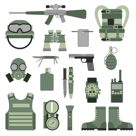 flak: USA or NATO troop military army symbols vector illustration.