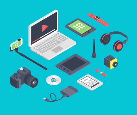 Vector set of isometric designer workplace table devices icons.