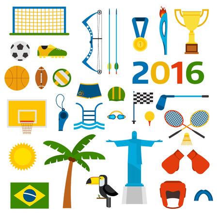 triathlon: Rio summer games icons vector illustration. Illustration