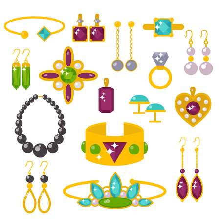 ring ruby: Flat jewelry stones vector illustration.