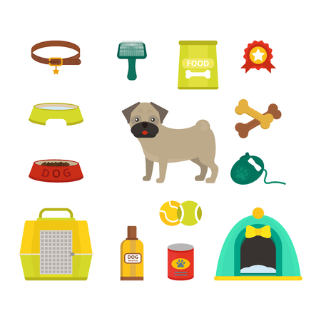 pug dog: Pug dog symbols vector illustration.