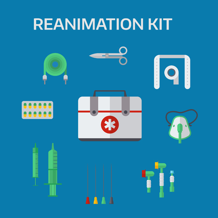 reanimation: Ambulance reanimation icons vector illustration.