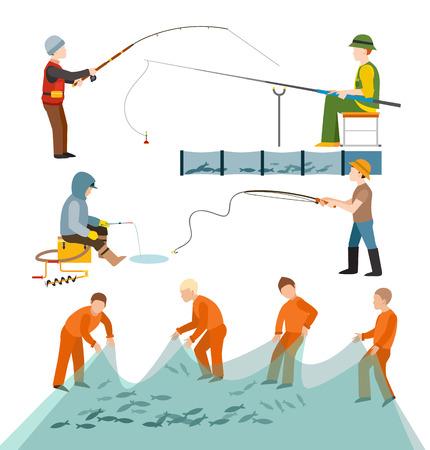 trawl: Fishing fishermen people vector illustration. Illustration