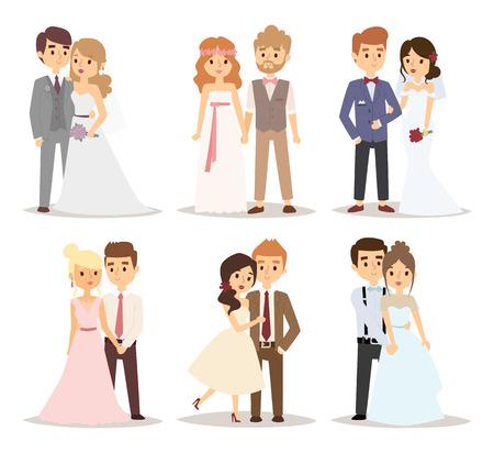 matrimonio feliz: Pares de la boda ilustración vectorial.