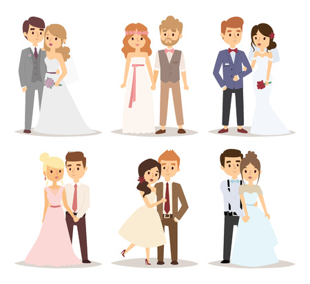 cartoon bouquet: Wedding couple vector illustration.