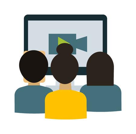 Webinar students vector illustration.