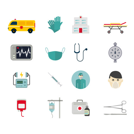 reanimation: Ambulance reanimation icons vector illustration. Ambulance reanimation icons isolated on white background. Ambulance reanimation icons silhouette. Ambulance reanimation car and doctors