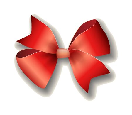 red ribbon bow: Red ribbon bow on white background. Shiny red satin ribbon on white background. Holiday ribbon and bow. Red ribbon. Red ribbon decoration element. Red ribbon celebration symbol.