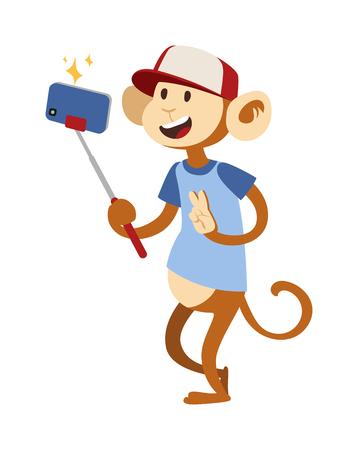 monkey silhouette: Selfie monkey vector illustration. Selfie monkey isolated on white background. Selfie monkey funny style. Selfie monkey isolated vector. Selfie monkey silhouette