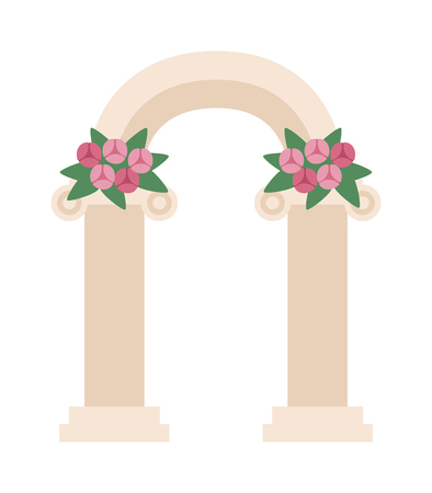 wedding reception decoration: Wedding arch with pink roses vector. Wedding arch. Beautiful wedding romantic arc pink roses. Wedding arch illustration design. Wedding arch concept Illustration