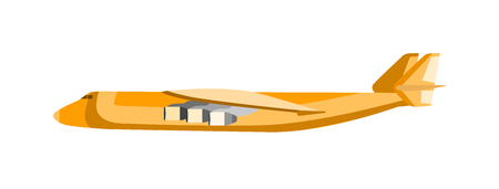 airliner: Cargo airplane vector illustration. Commercial airliner landing isolated on white background. Cargo airplane aviation. Cargo airplane transport. Cargo airline business airliner.