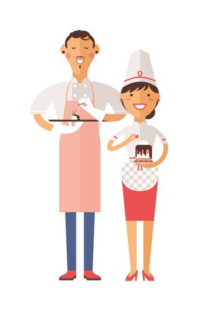 professional chef: Smiling confectioners holding plate with cake. Vector portrait of chef confectioners in uniform with cream cakes. Cute confectioners chefs in hat and cake. Cake chef, confectioners chefs Illustration